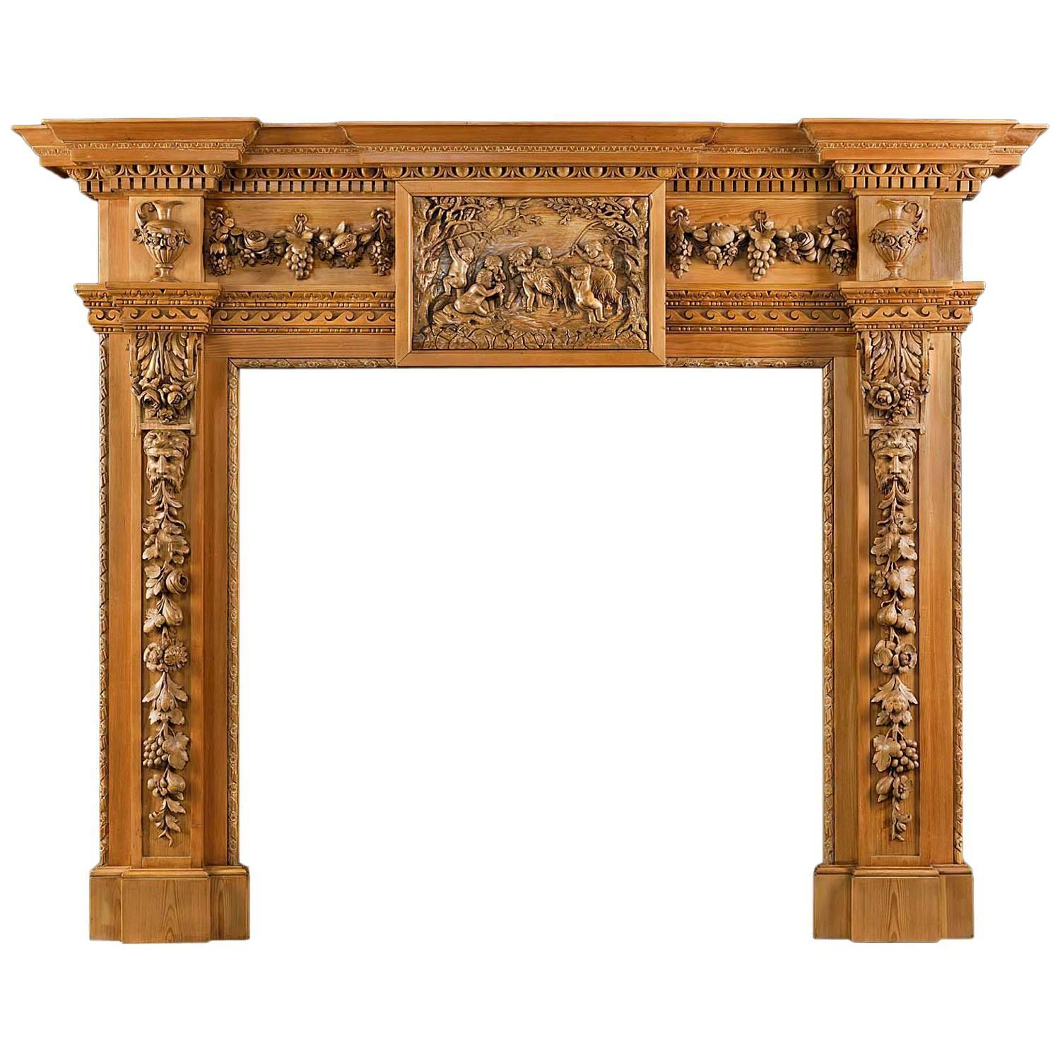 18th century pine and limewood antique fireplace mantel at