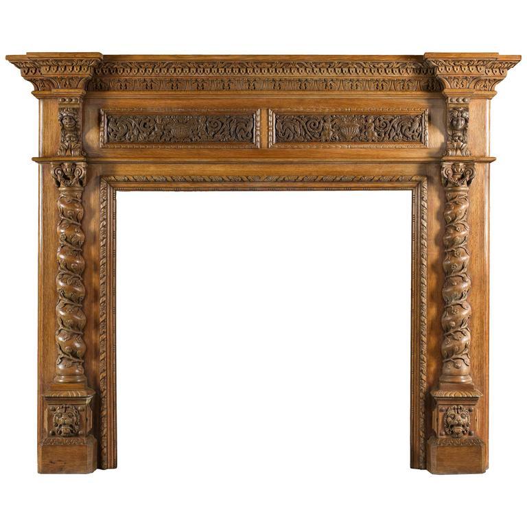 Antique Italian Renaissance Style Carved Oak Antique Fireplace Mantel