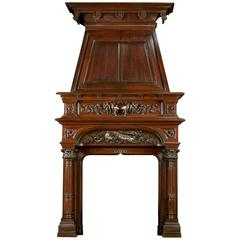Renaissance Style Antique Walnut Trumeau Fireplace Mantel
