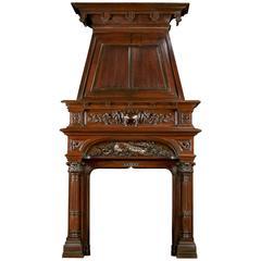 Renaissance Style Antique Walnut Trumeau Fireplace Mantel