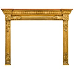 English Regency Pine and Composition, Antique Giltwood Fireplace Mantel