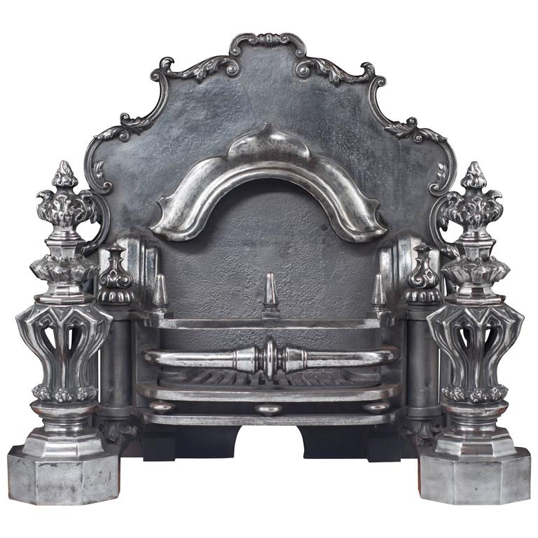 Large Antique Cast Iron Fireplace Grate In The Italian Baroque Manner At 1stdibs