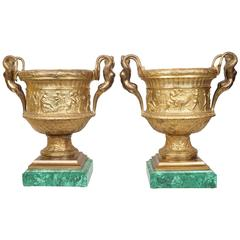 Important Pair of Neoclassical Malachite and Gilt Bronze Figural Vases