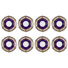 Antique Cobalt and Gold Minton Presentation Plates, 1900