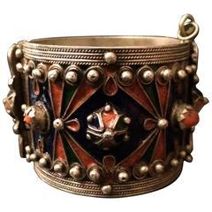 Vintage Sterling Cuff Bracelet in Enamel with Coral