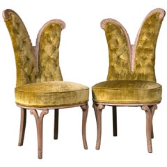 Pair of Art Deco Style Feather Decorated Side Chairs Tufted Back Curved Details