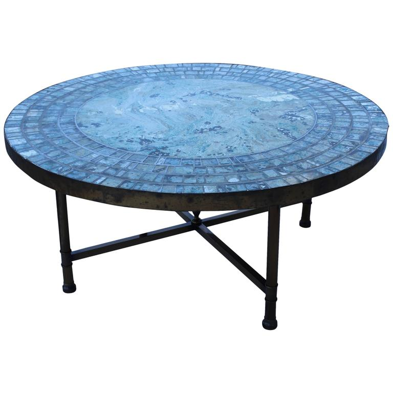 1950s Mosaic Glass Top Brass Italian Coffee Table For Sale At 1stdibs