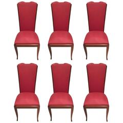 French Art Deco Walnut Dining Chairs, Set of Six in Leleu Style