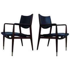 Stow & Davis Modernist Leather and Walnut Armchairs