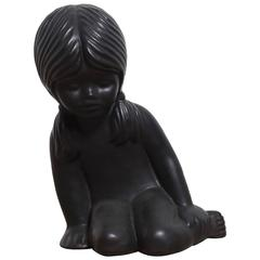 Ceramic Sculpture of a Young Girl by Elie van Damme for Amphora