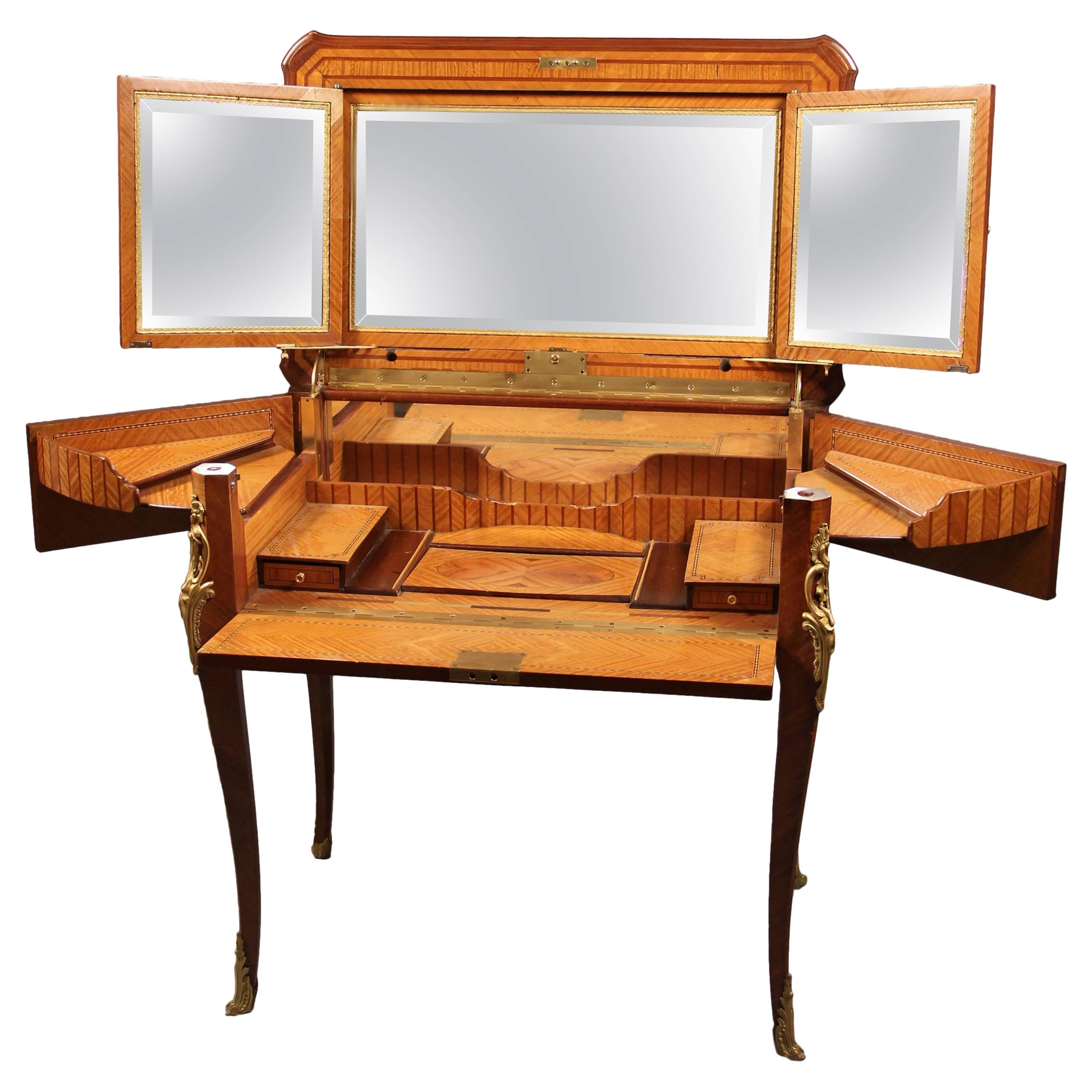 Rare Late 19th Century Dressing Gilt Bronze Mounted Dressing Table