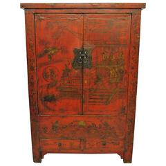 Early 19th Century Chinese Armoire from Shanxi Province, Original Lacquer