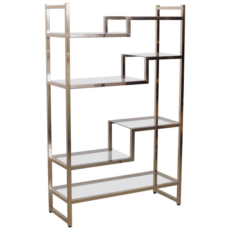 brass and gold plated bookshelf or etagere attributed to maison jansen for sale at 1stdibs