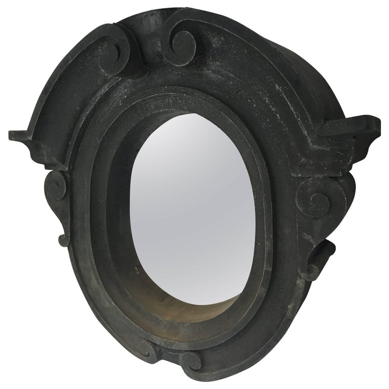18th Century Zinc Oeil De Boeuf Mirror For Sale