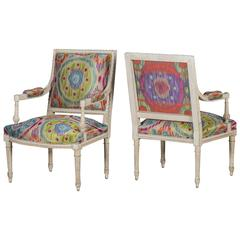 Pair of Painted Louis XVI Armchairs from France, circa 1880