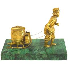 Russian Bronze Doré and Malachite Figural Inkwell, Mid-19th Century