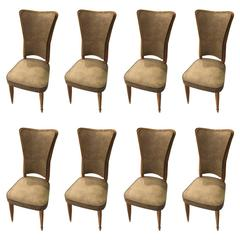 Set of Eight Sycamore French Art Deco Dining Chairs
