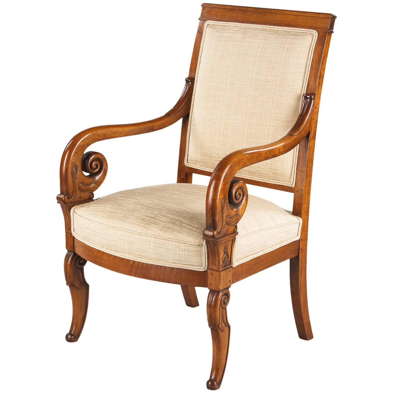 French Restauration Style Cherrywood Armchair 1920 At 1stdibs