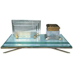 Inkwell and Letter Case, Cut Crystal, Gilded Brass, Drilled Metal Matégot 1950