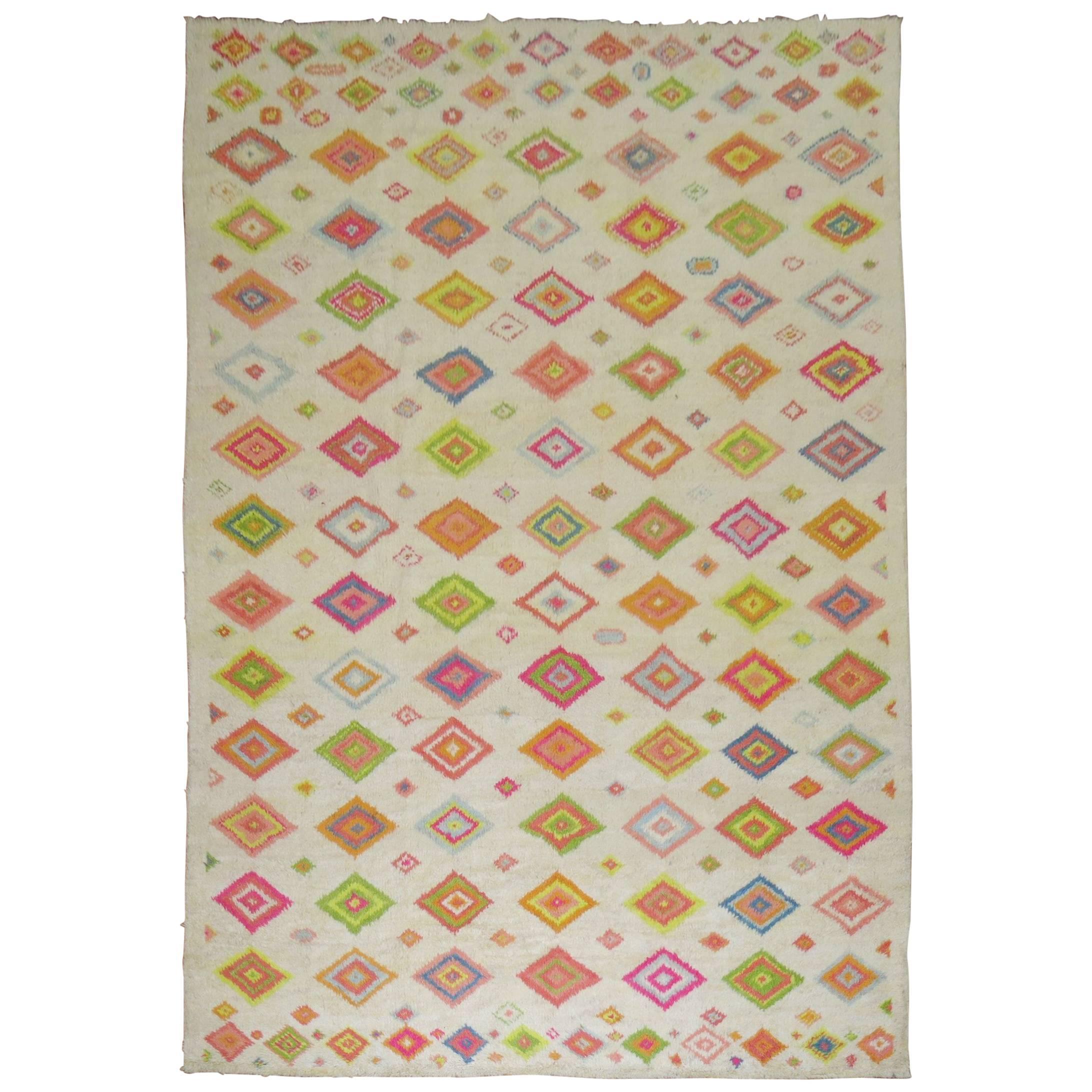 Large Colorful Turkish Tulu Bohemian Carpet