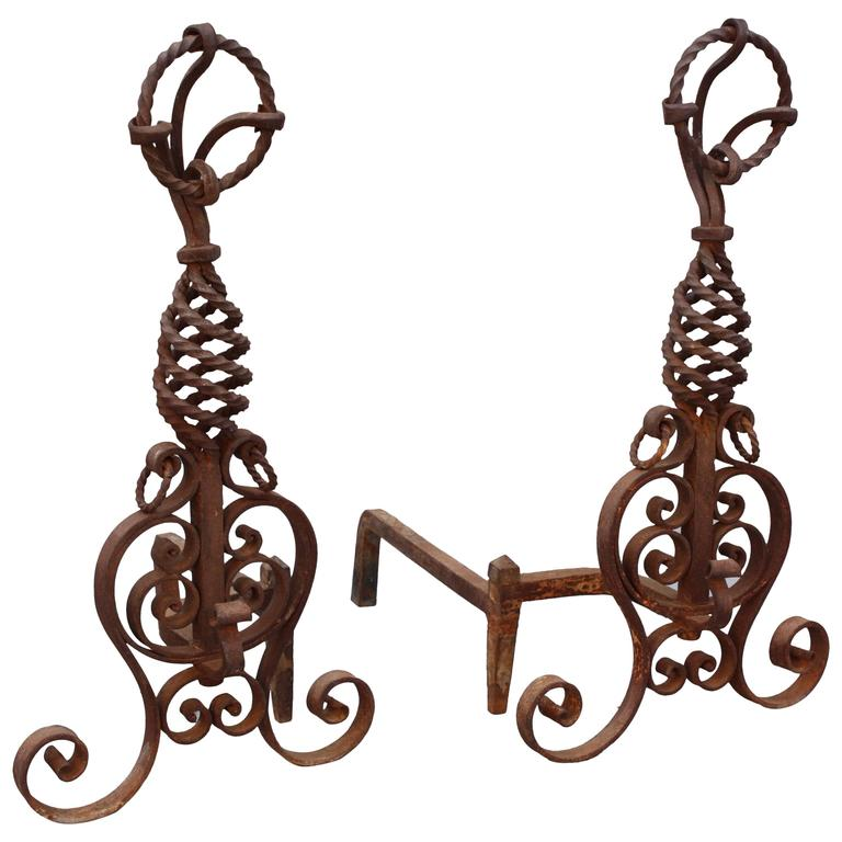 1920s Wrought Iron Andirons