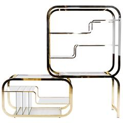 Milo Baughman Style Brass and Glass Adjustable Width Etagere, Excellent