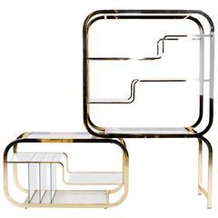 Milo Baughman Brass and Glass Adjustable Width Etagere, Excellent