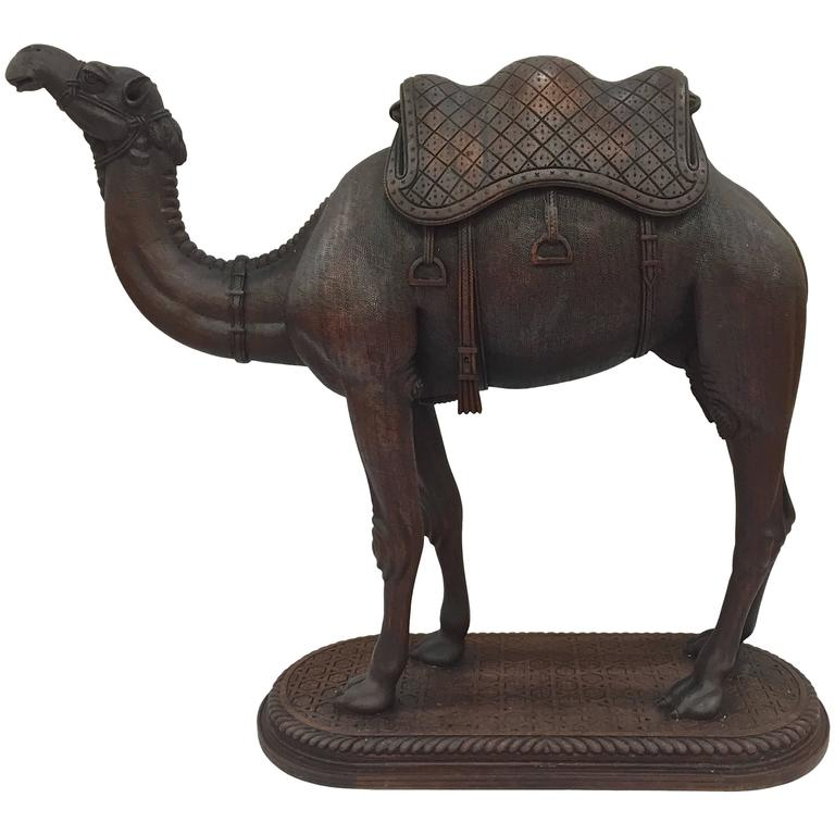 Moroccan carved wood camel finely circa at