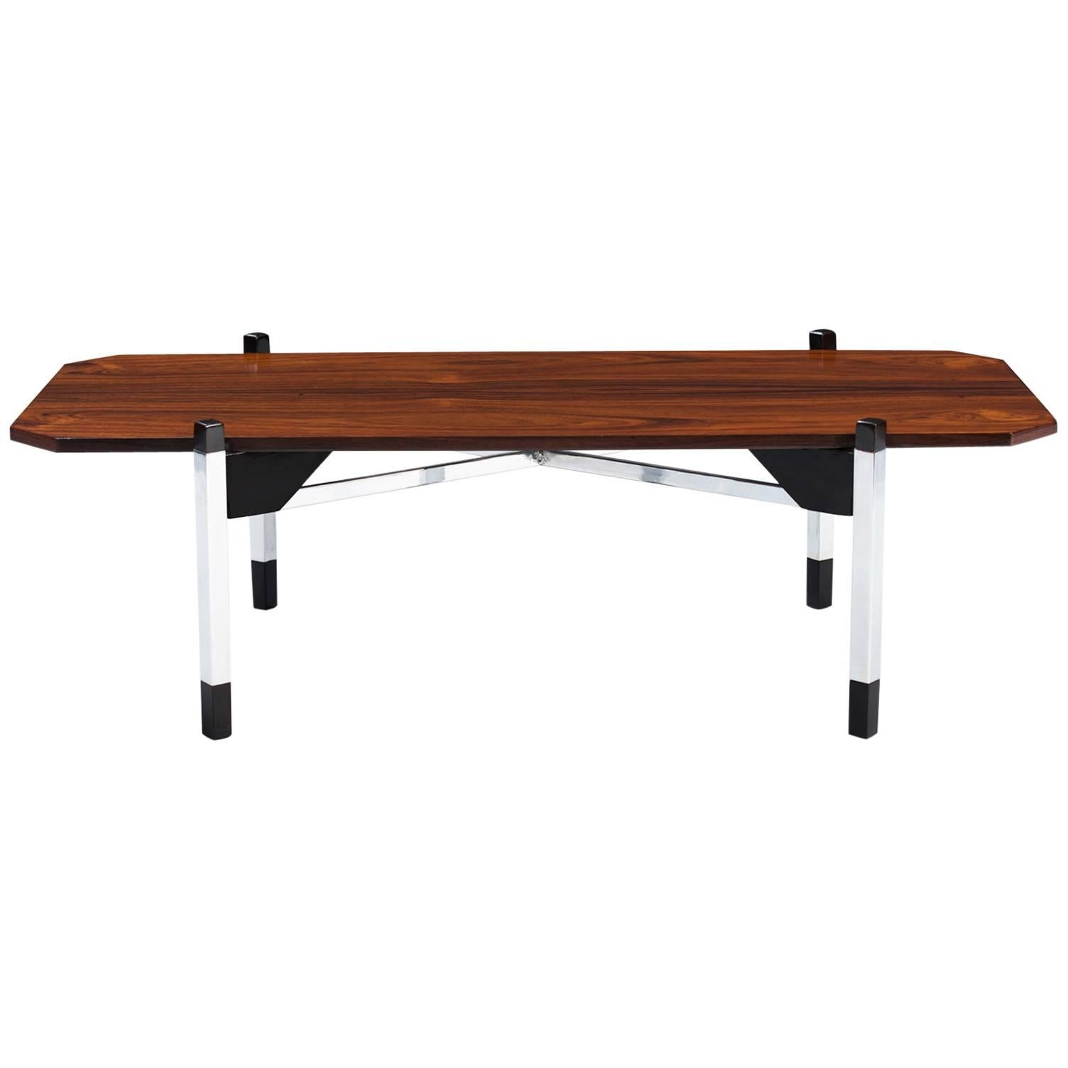 Italian Rosewood and Chrome Coffee Table