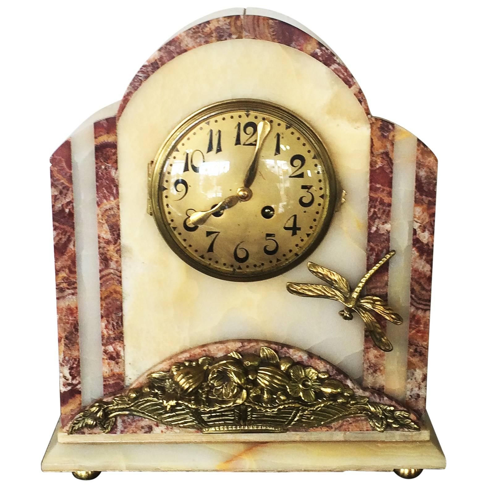 French Art Deco Bronze and Marble Clock with Dragonfly at 1stdibs