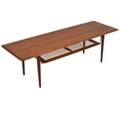 Peter Hvidt & Orla Mølgaard Nielsen Coffee Table with Cane Shelf