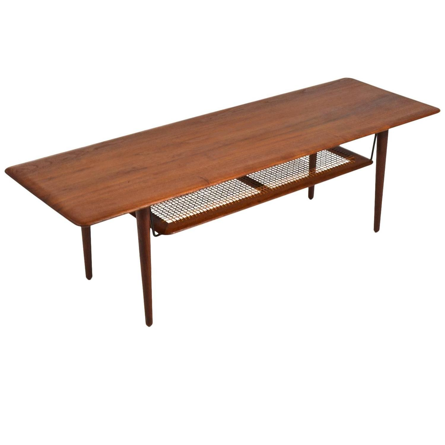 Peter Hvidt And Orla Mølgaard Nielsen Coffee Table With Cane Shelf For At 1stdibs