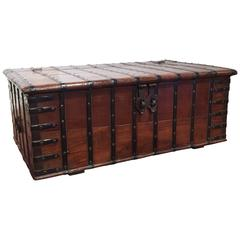 19th Century English Chestnut Coffee Table Trunk with Heavy Hardware