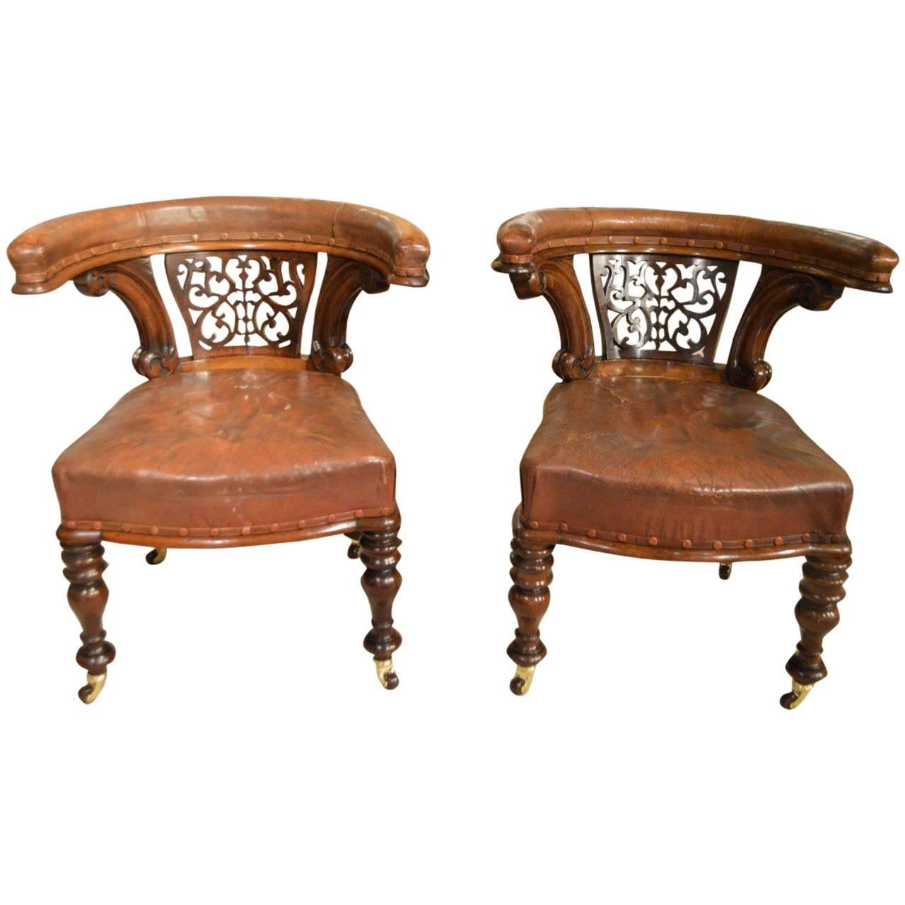 Pair of mahogany victorian period antique desk chairs at for Victorian age furniture