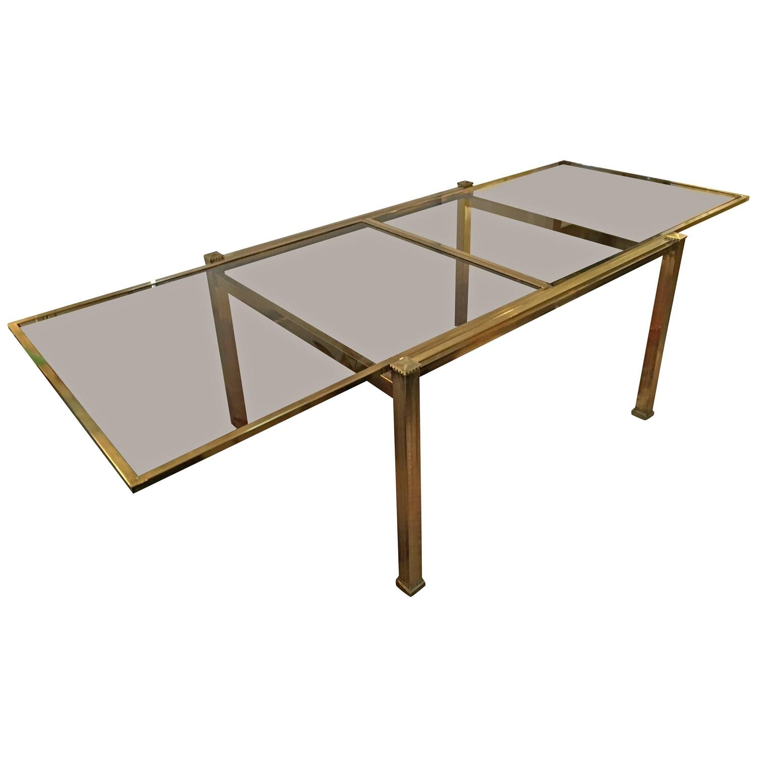 Mastercraft brass and smoked glass extension dining table for Extension dining table