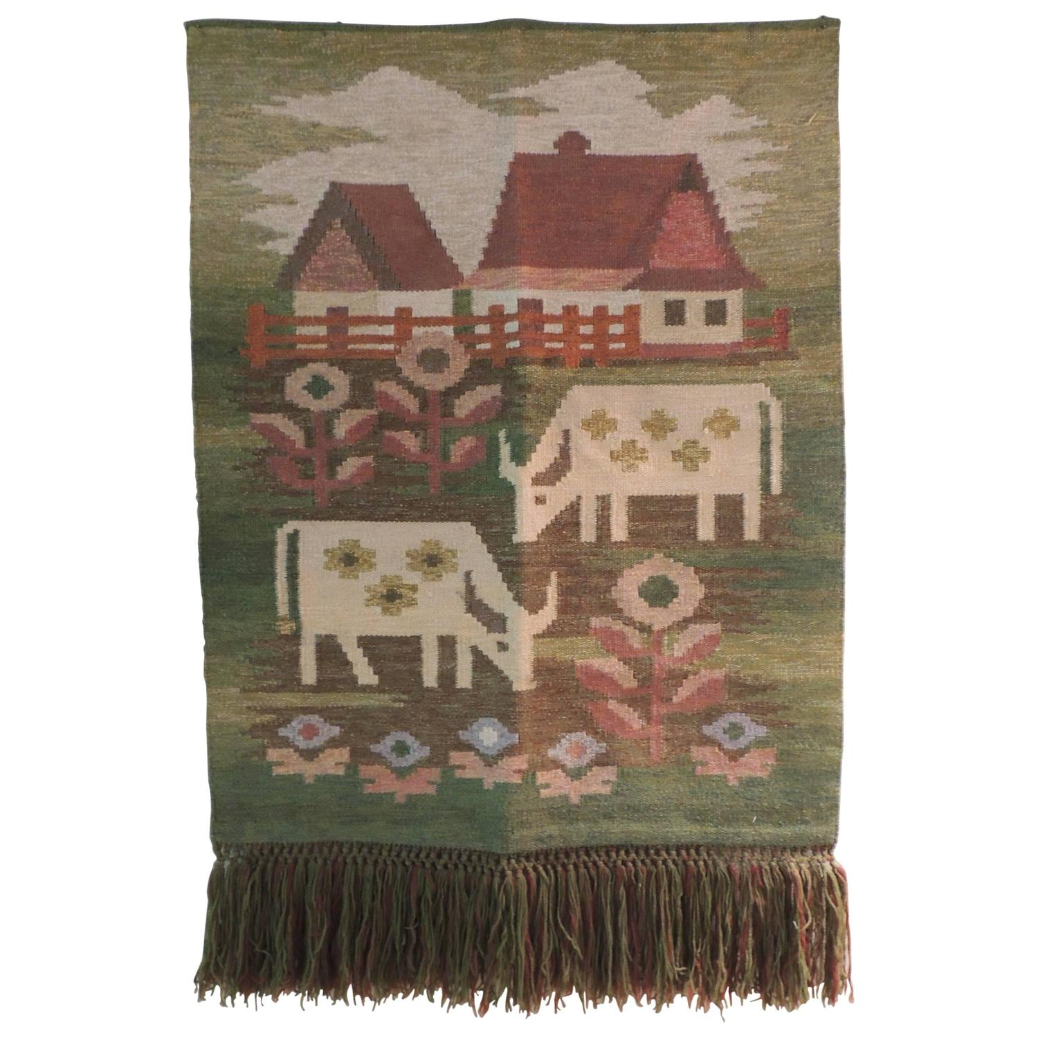 Mid Century Modern Wall Hanging Tapestry With Fringes At 1stdibs