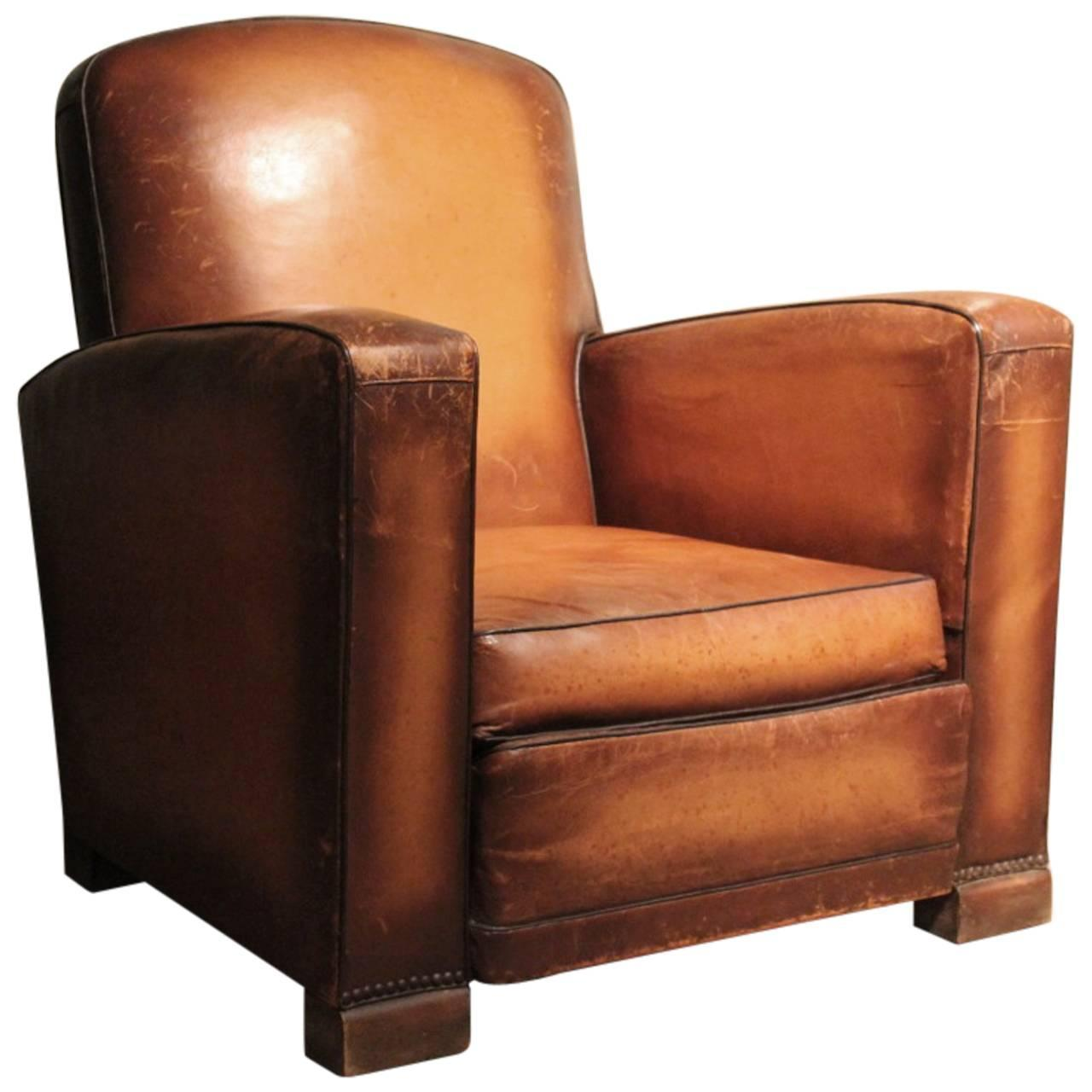 Circa 1930s Single Leather Armchair at 1stdibs