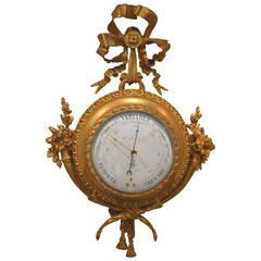 Unusual French Ormolu Cartel Barometer