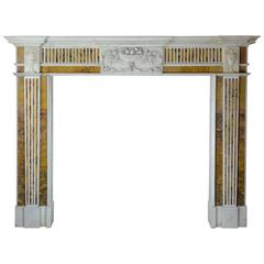 18th Century Irish Chimneypiece in Statuary Marble with Convent Siena Marble