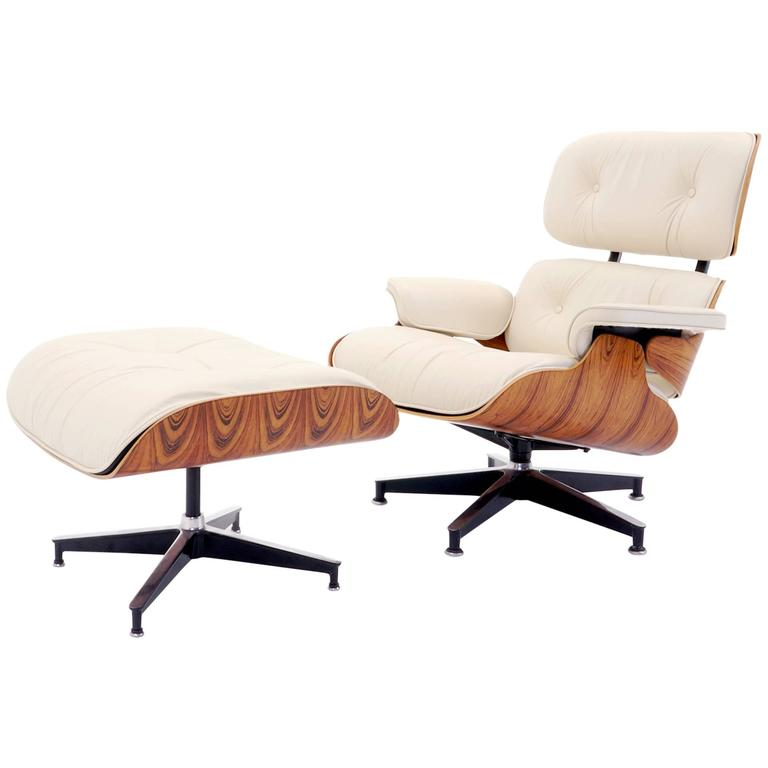 vintage rosewood eames lounge chair and ottoman with new herman miller cushions at 1stdibs. Black Bedroom Furniture Sets. Home Design Ideas