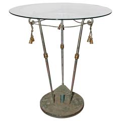 Neoclassical Iron and Glass Center Table
