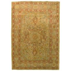 Antique Persian Tabriz Oriental Rug in Small Size with Medallion and Soft Colors