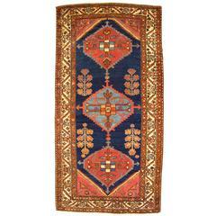 Antique Persian Hamadan Oriental Rug with Medallions & Minimal Design