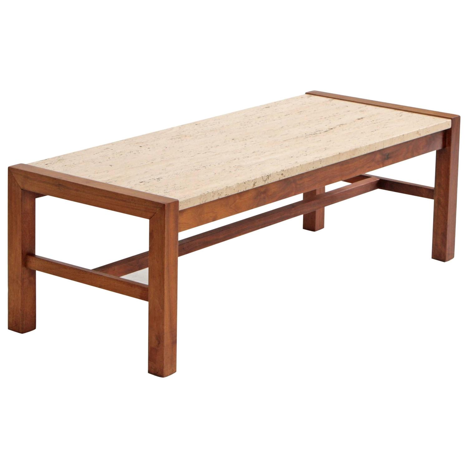 Travertine And Walnut Midcentury Coffee Table At 1stdibs