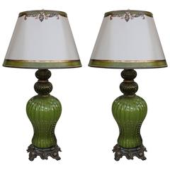 1930s Italian Murano Lamps with Parchment Shades