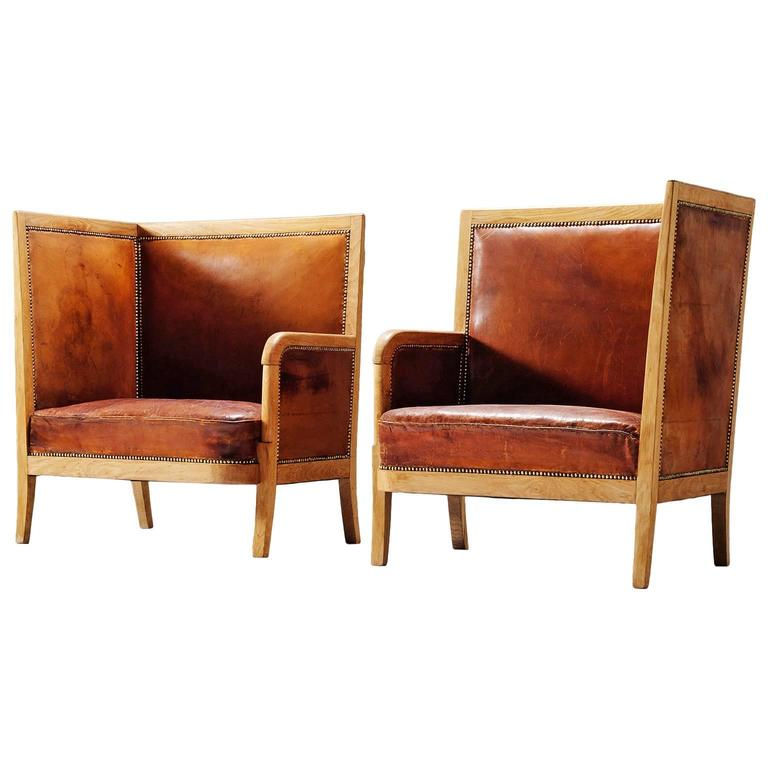 Pair of High Back Chairs in Cognac Leather 1