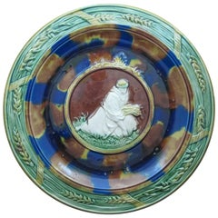 19th Century English Majolica Wall Plaque, Bread Tray, Ruth Gathering Sheaves