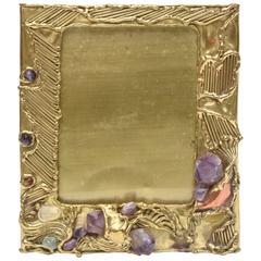 Sculptural and Jeweled Brass/Amethyst, Quartz and Agate Picture Frame/Mirror