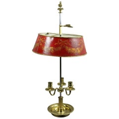Louis XVI Brass and Red Tole Bouillotte Lamp