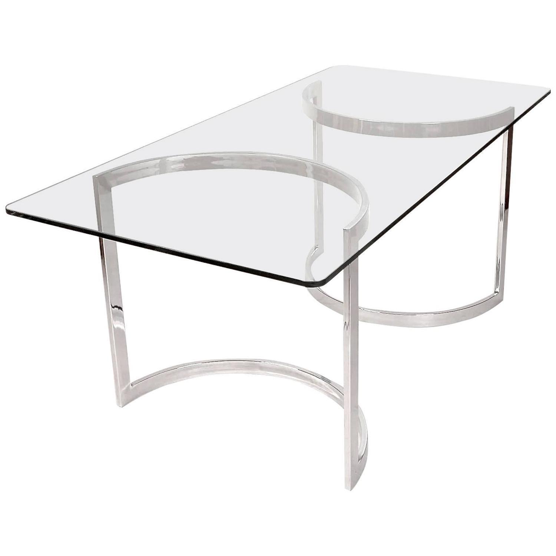 Milo baughman chrome and glass dining table for sale at for Glass and chrome dining table